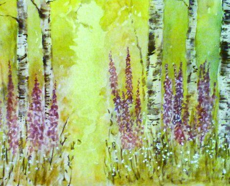Birches and Foxgloves - Watercolour